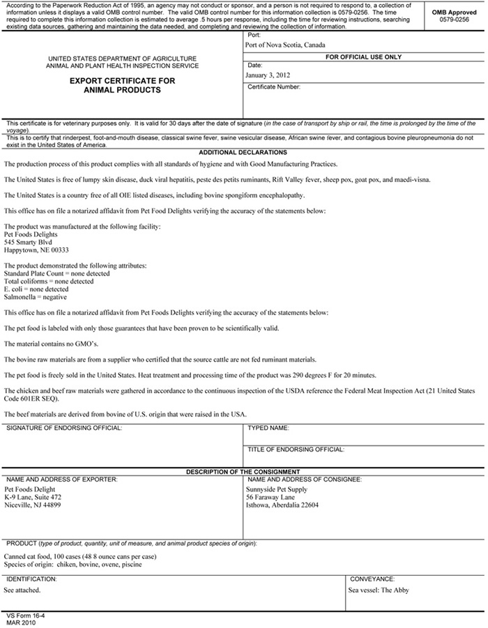 Export Certification:Certificate Submission