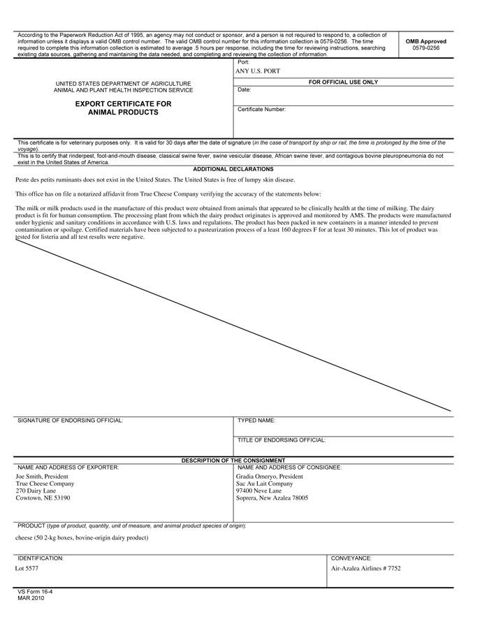 Export Certification:Scenario 2: Correct VS Form 16-4
